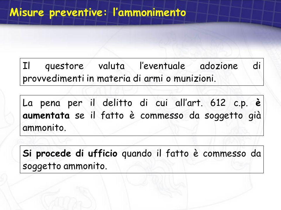 Misure preventive: l'ammonimento