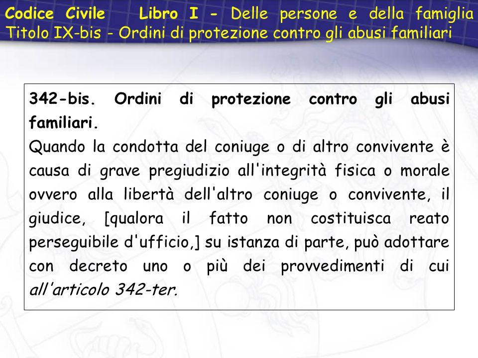Codice Civile Libro I - Delle persone e della famiglia Titolo IX-bis - Ordini di protezione contro gli abusi familiari