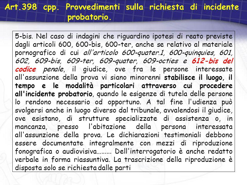 Art.398 cpp. Provvedimenti sulla richiesta di incidente probatorio.