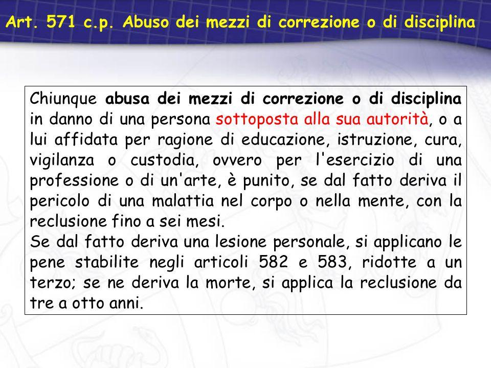 Art. 571 c.p. Abuso dei mezzi di correzione o di disciplina