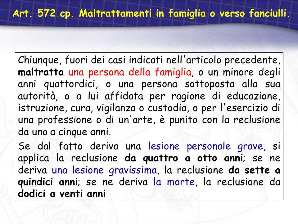 Art. 572 cp. Maltrattamenti in famiglia o verso fanciulli.