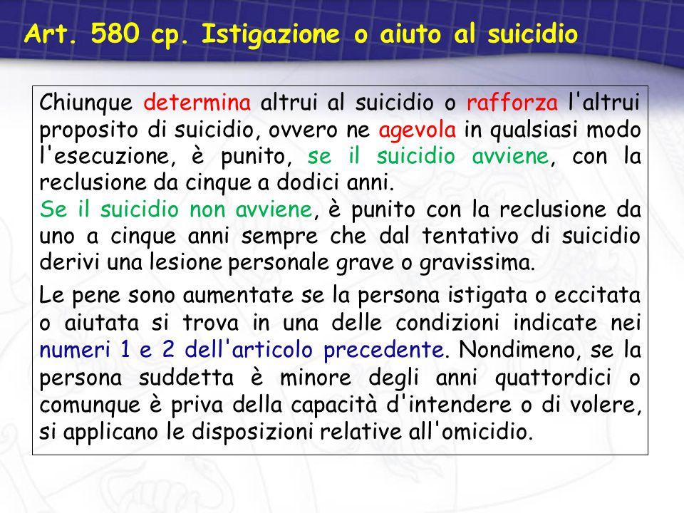 Art. 580 cp. Istigazione o aiuto al suicidio