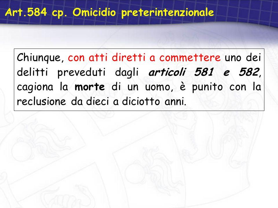 Art.584 cp. Omicidio preterintenzionale