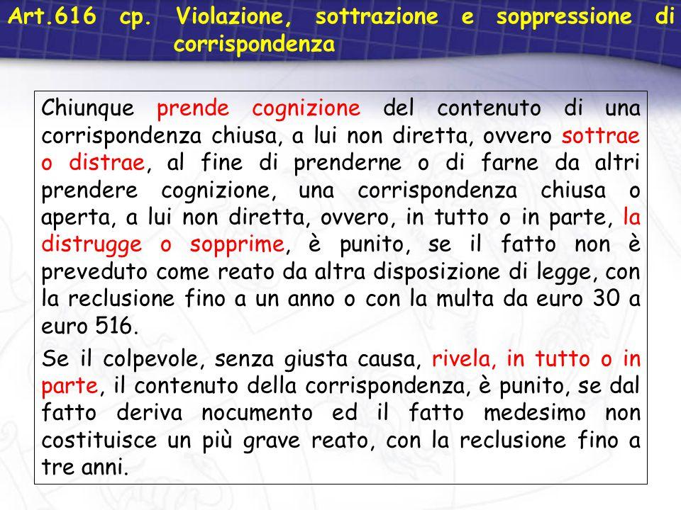 Art.616 cp. Violazione, sottrazione e soppressione di corrispondenza