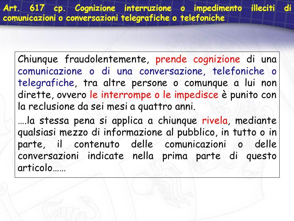 Art. 617 cp. Cognizione interruzione o impedimento illeciti di comunicazioni o conversazioni telegrafiche o telefoniche