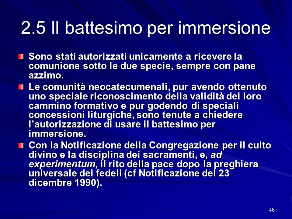 2.5 Il battesimo per immersione