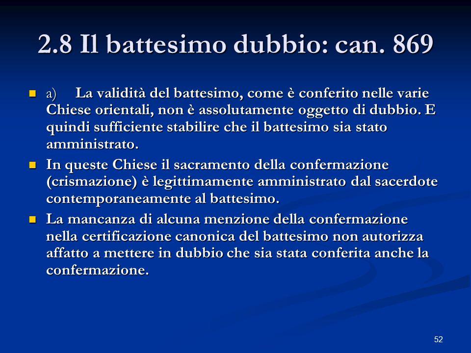 2.8 Il battesimo dubbio: can. 869