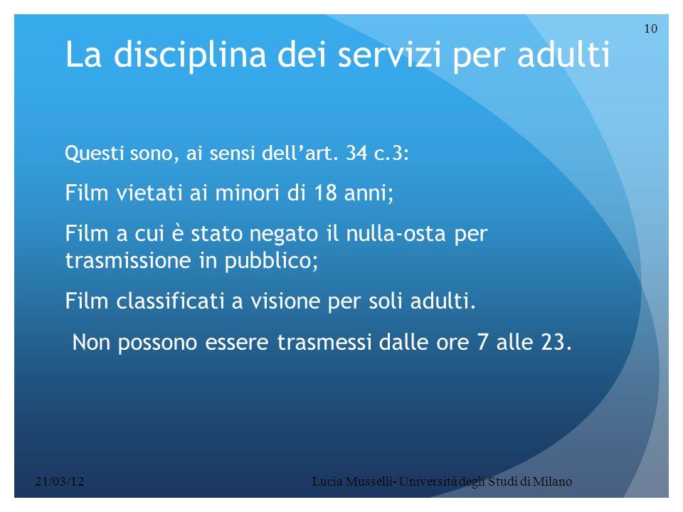 La disciplina dei servizi per adulti