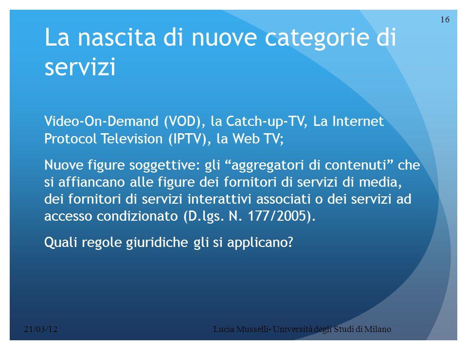 La nascita di nuove categorie di servizi
