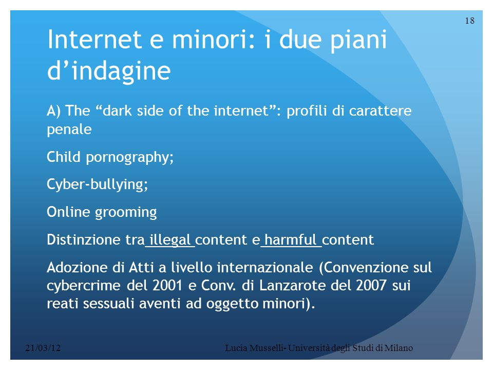 Internet e minori: i due piani d'indagine