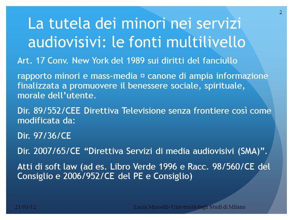 La tutela dei minori nei servizi audiovisivi: le fonti multilivello