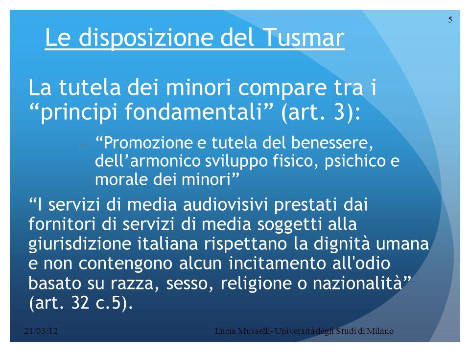 Le disposizione del Tusmar
