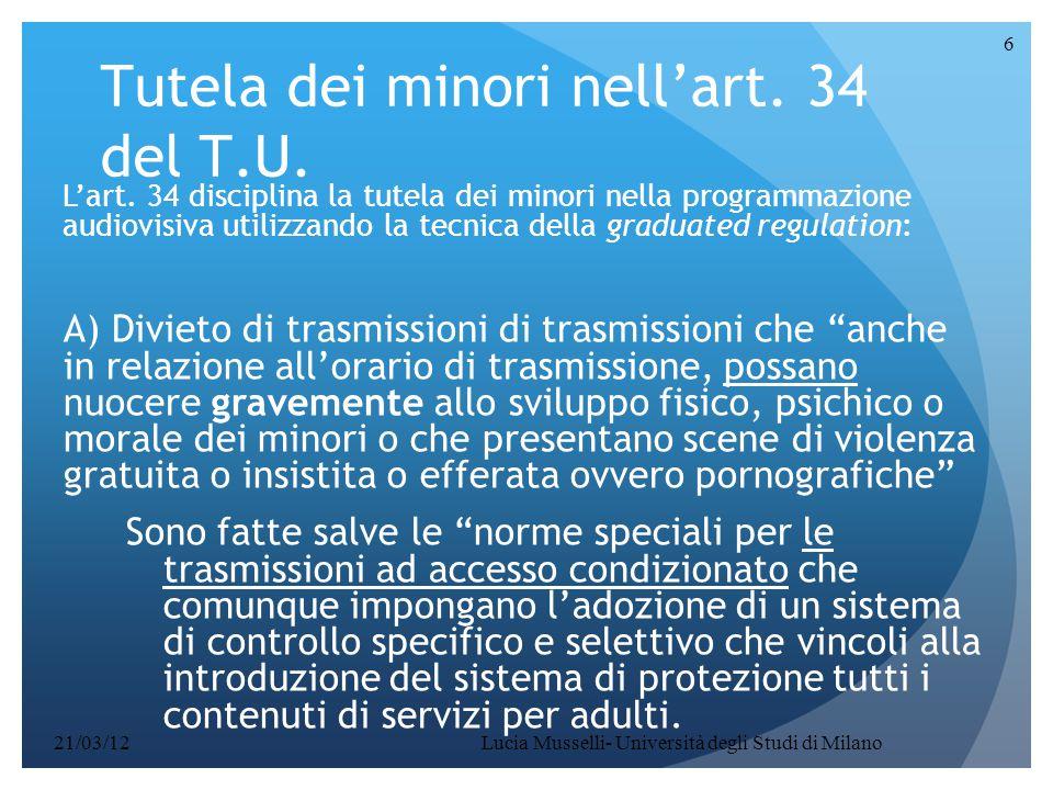 Tutela dei minori nell'art. 34 del T.U.