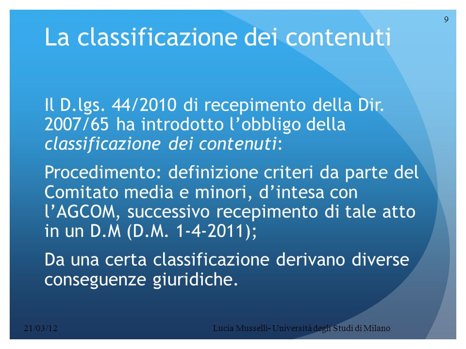 La classificazione dei contenuti