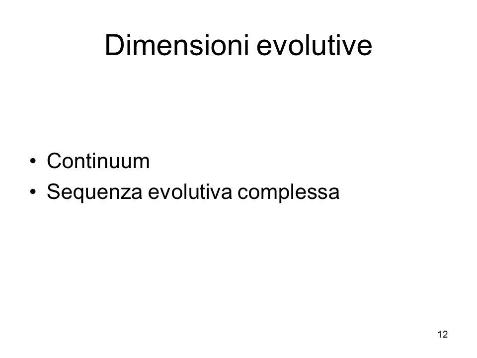 Dimensioni evolutive Continuum Sequenza evolutiva complessa 12 12
