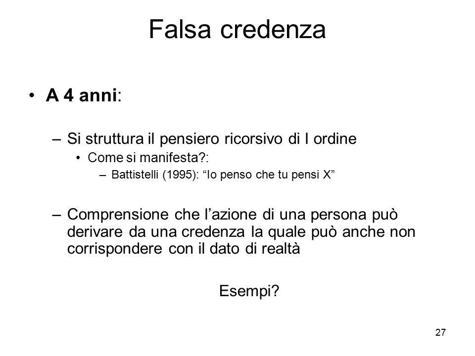 Falsa credenza A 4 anni: Si struttura il pensiero ricorsivo di I ordine. Come si manifesta : Battistelli (1995): Io penso che tu pensi X