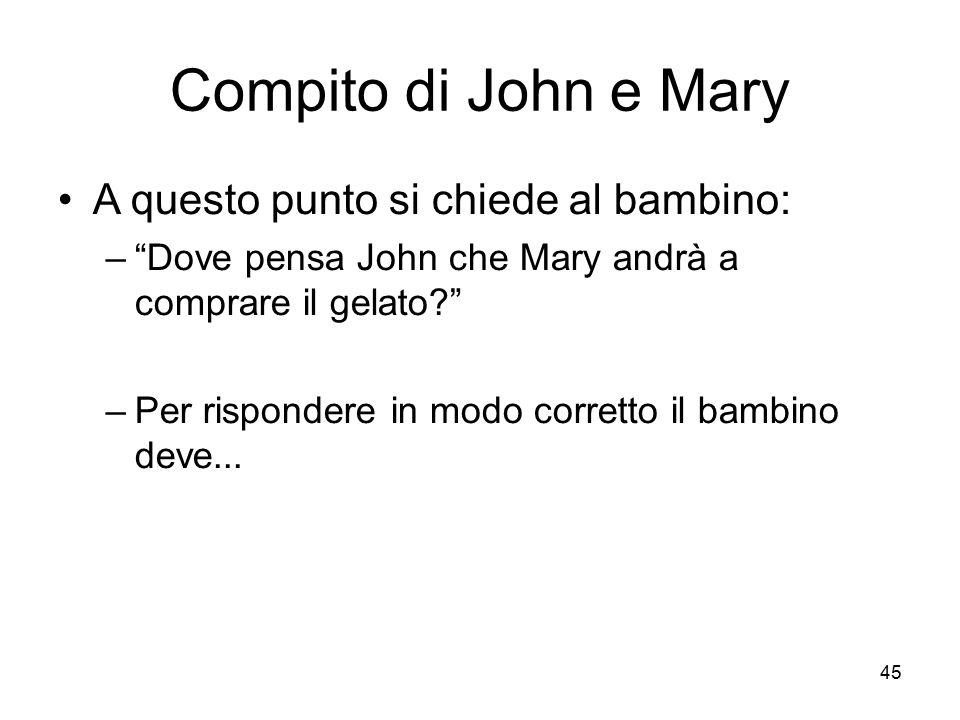 Compito di John e Mary A questo punto si chiede al bambino: