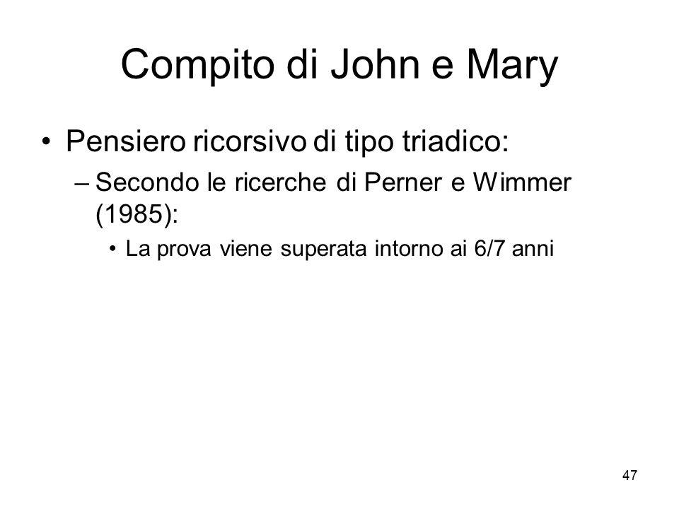 Compito di John e Mary Pensiero ricorsivo di tipo triadico: