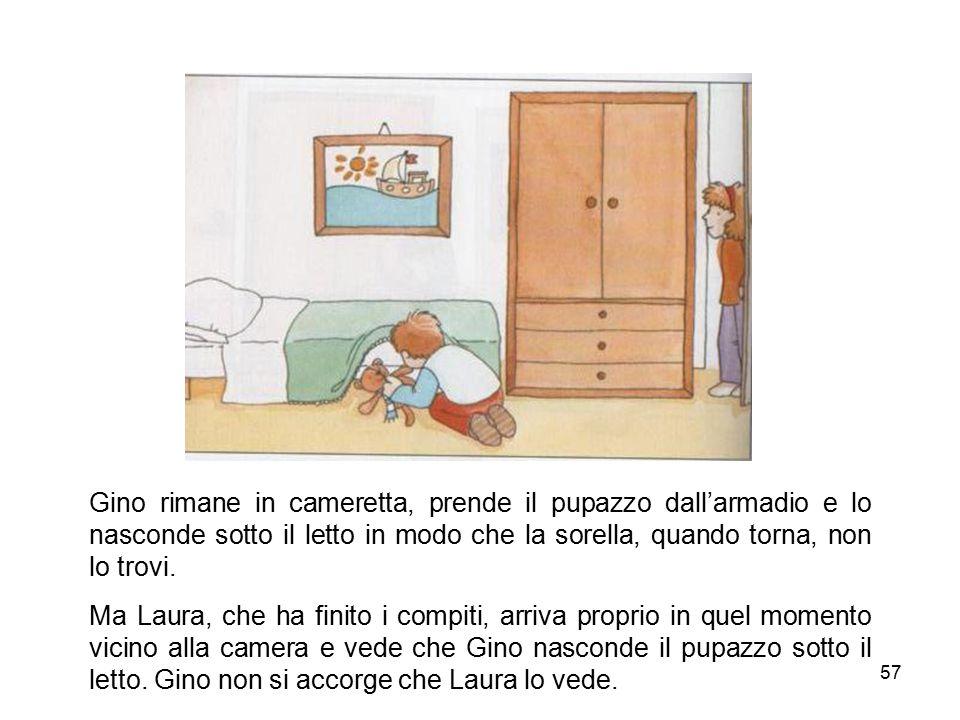 Gino rimane in cameretta, prende il pupazzo dall'armadio e lo nasconde sotto il letto in modo che la sorella, quando torna, non lo trovi.