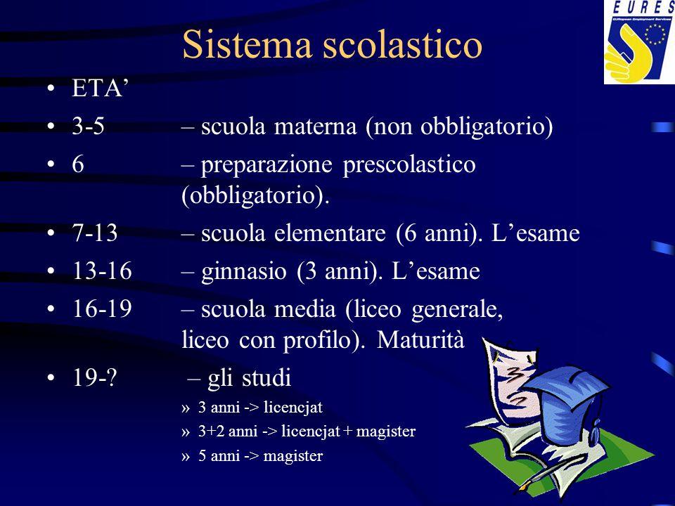 Sistema scolastico ETA' 3-5 – scuola materna (non obbligatorio)