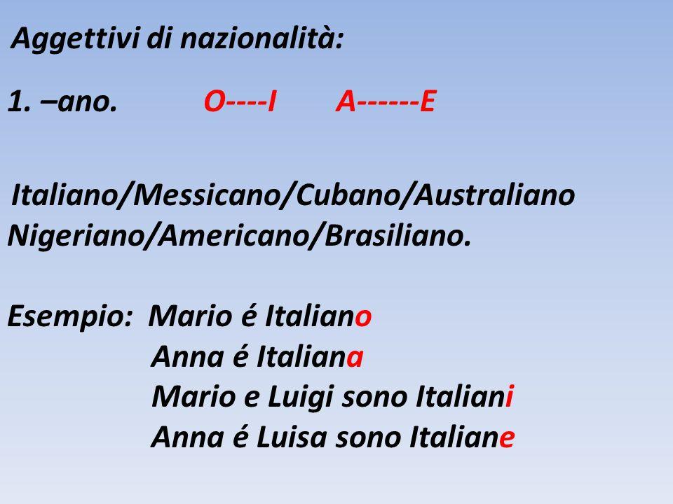 Aggettivi di nazionalità: 1. –ano