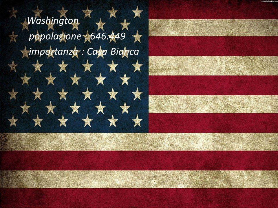 Washington popolazione : 646.449 importanza : Casa Bianca