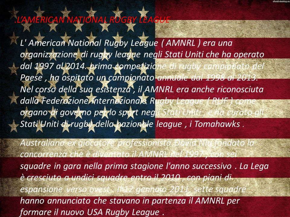 .L'AMERICAN NATIONAL RUGBY LEAGUE