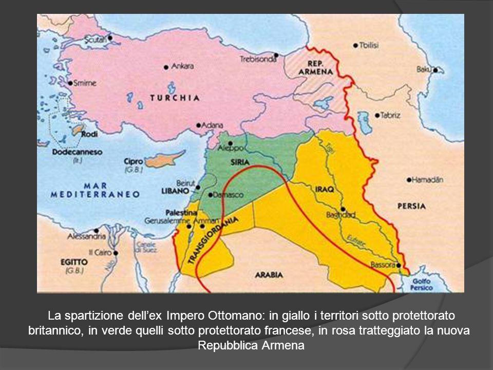 La spartizione dell'ex Impero Ottomano: in giallo i territori sotto protettorato