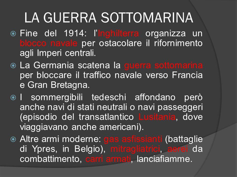 LA GUERRA SOTTOMARINA Fine del 1914: l'Inghilterra organizza un blocco navale per ostacolare il rifornimento agli Imperi centrali.