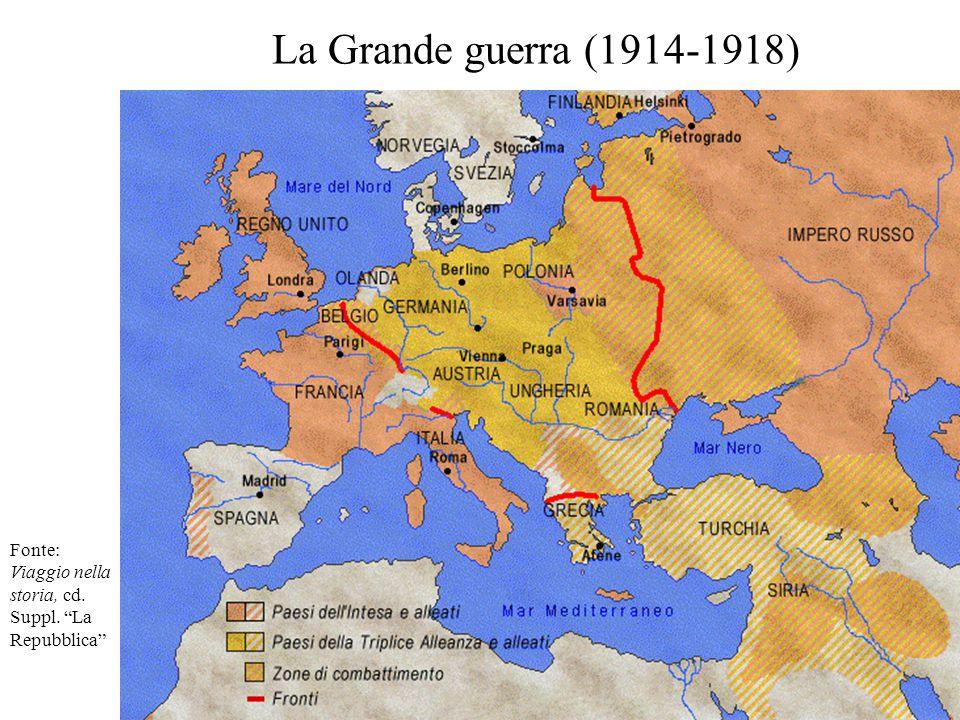 La Grande guerra (1914-1918) Fonte: Viaggio nella storia, cd. Suppl. La Repubblica