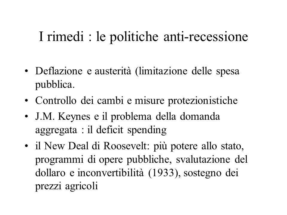 I rimedi : le politiche anti-recessione