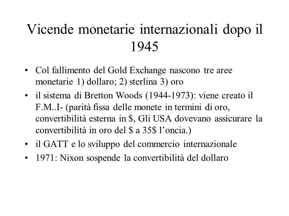 Vicende monetarie internazionali dopo il 1945