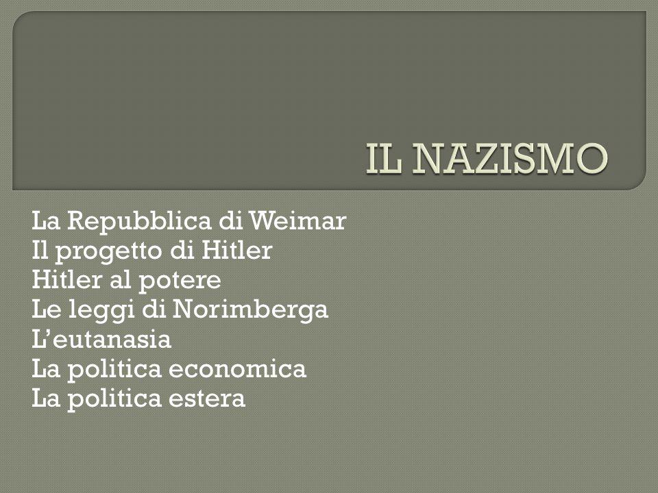 IL NAZISMO La Repubblica di Weimar Il progetto di Hitler