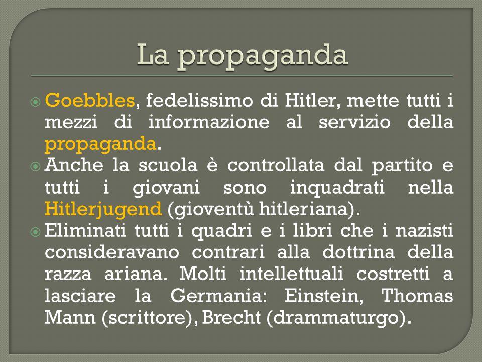 La propaganda Goebbles, fedelissimo di Hitler, mette tutti i mezzi di informazione al servizio della propaganda.