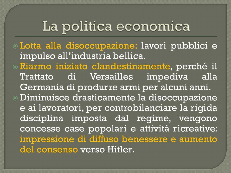 La politica economica Lotta alla disoccupazione: lavori pubblici e impulso all'industria bellica.