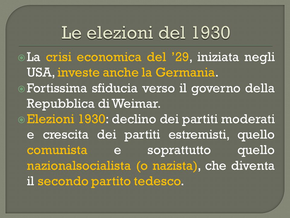 Le elezioni del 1930 La crisi economica del '29, iniziata negli USA, investe anche la Germania.
