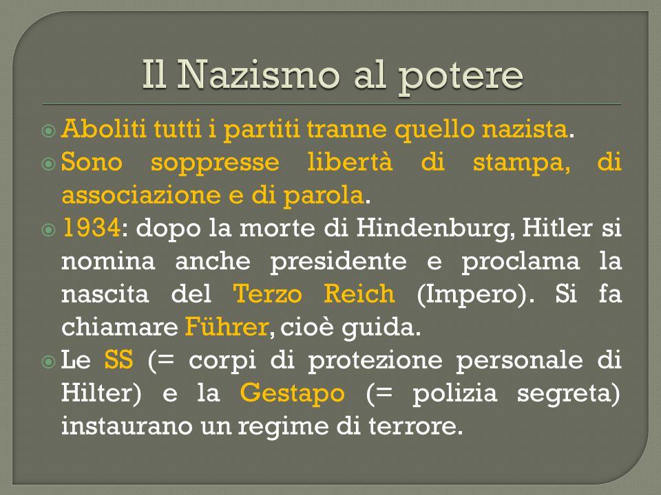 Il Nazismo al potere Aboliti tutti i partiti tranne quello nazista.