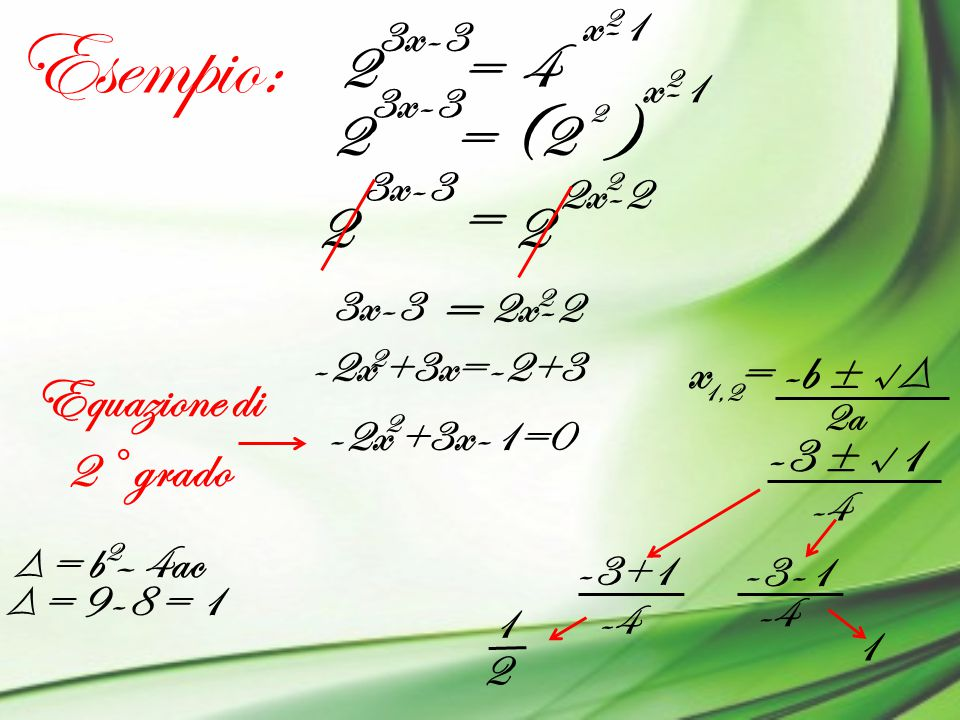 Esempio: 2 = 4 2 = (2 ) = 2 2 = x = -b ± √Δ Equazione di 2° grado