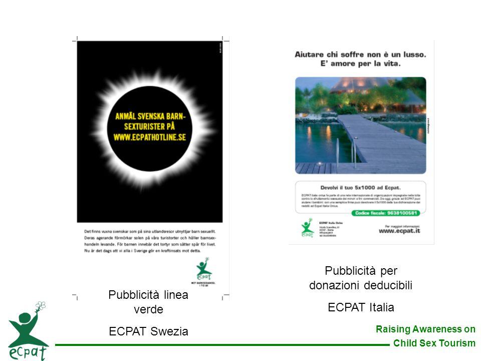 Pubblicità per donazioni deducibili ECPAT Italia