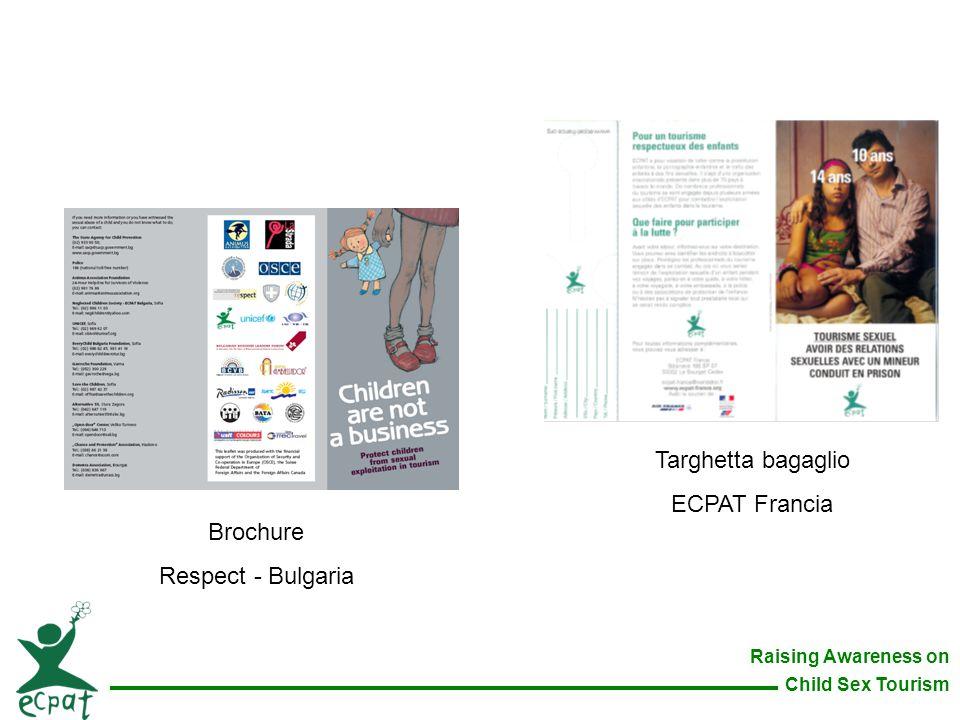 Targhetta bagaglio ECPAT Francia Brochure Respect - Bulgaria