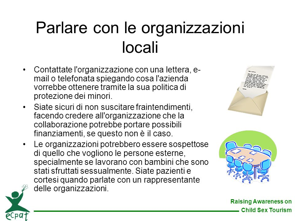 Parlare con le organizzazioni locali