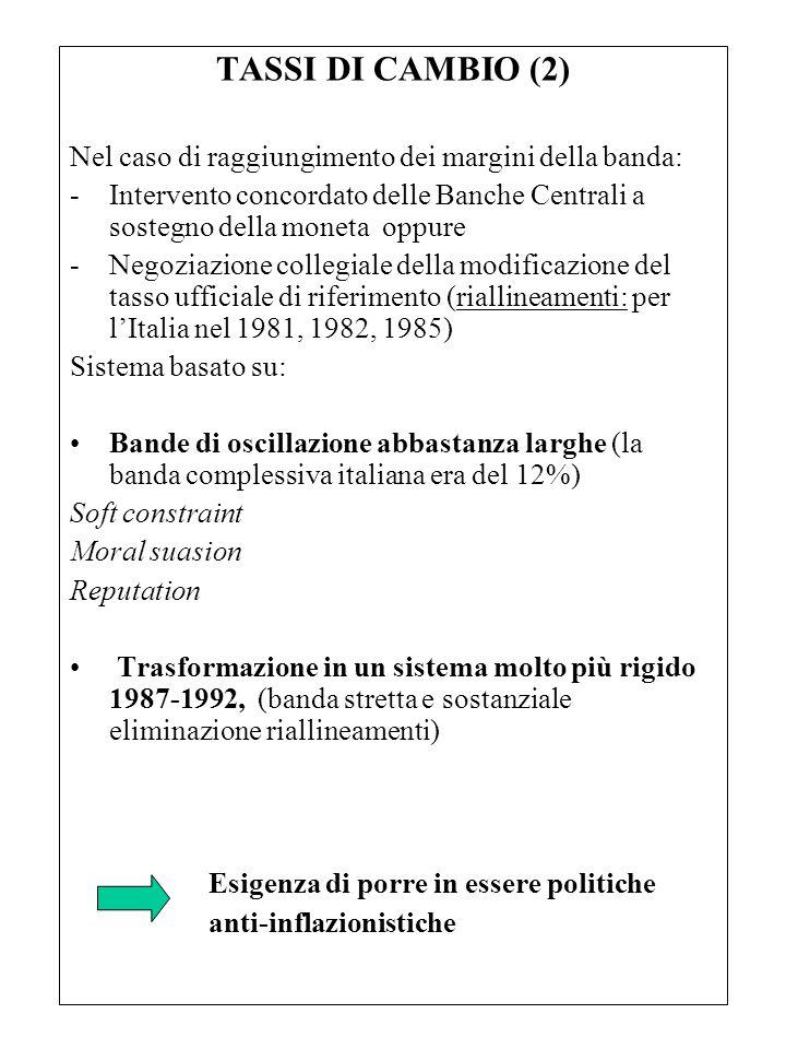 TASSI DI CAMBIO (2) Nel caso di raggiungimento dei margini della banda: Intervento concordato delle Banche Centrali a sostegno della moneta oppure.