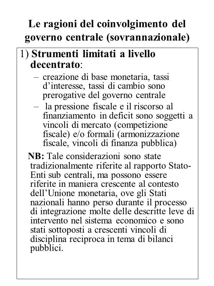 Le ragioni del coinvolgimento del governo centrale (sovrannazionale)