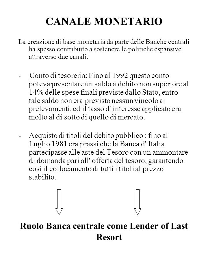 Ruolo Banca centrale come Lender of Last Resort