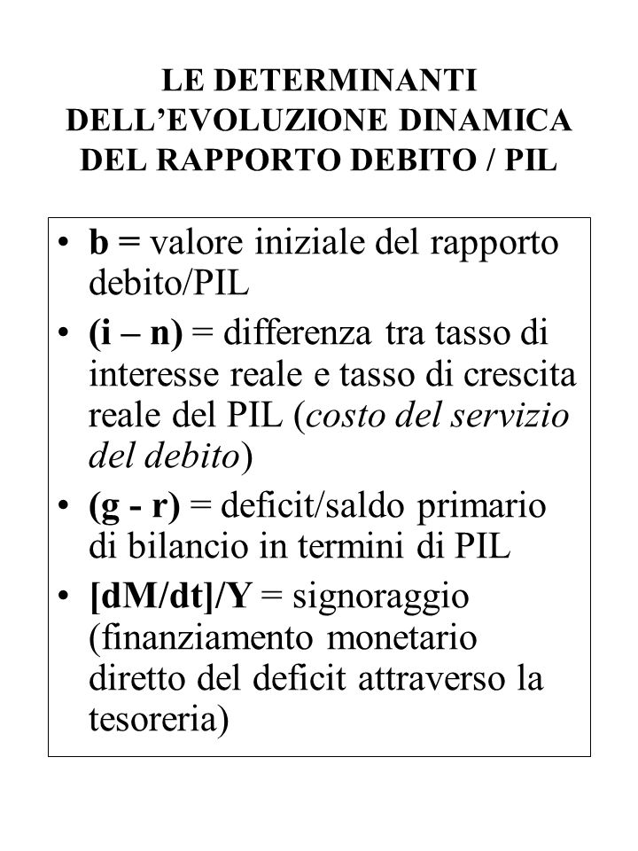 LE DETERMINANTI DELL'EVOLUZIONE DINAMICA DEL RAPPORTO DEBITO / PIL
