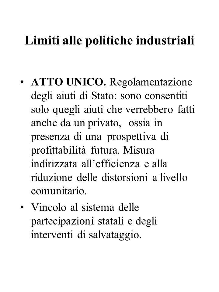 Limiti alle politiche industriali