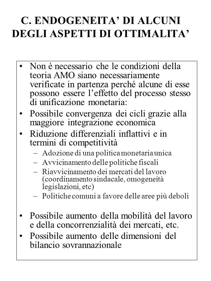 C. ENDOGENEITA' DI ALCUNI DEGLI ASPETTI DI OTTIMALITA'