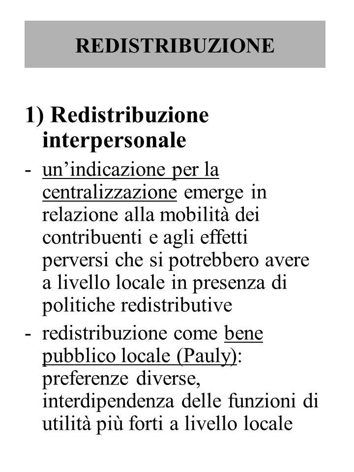 1) Redistribuzione interpersonale
