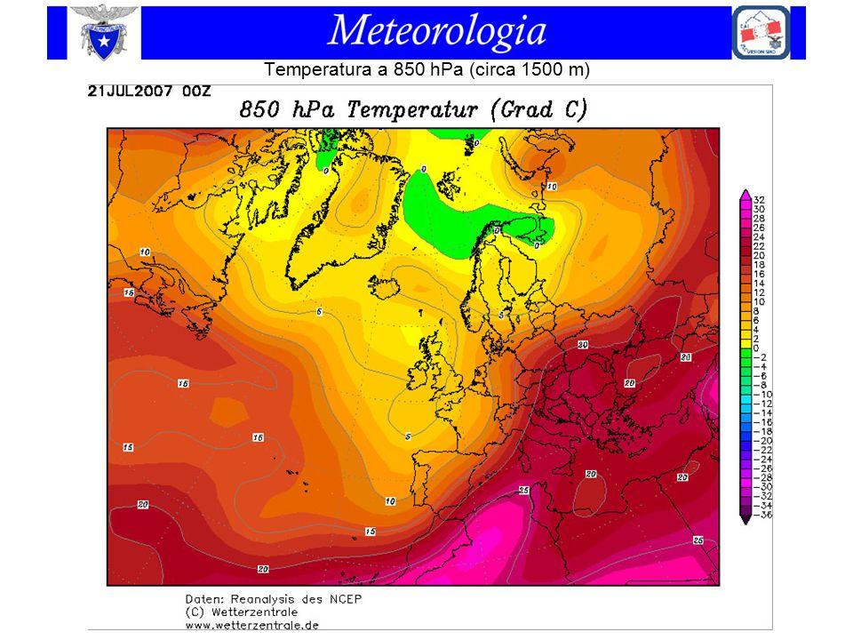 Temperatura a 850 hPa (circa 1500 m)