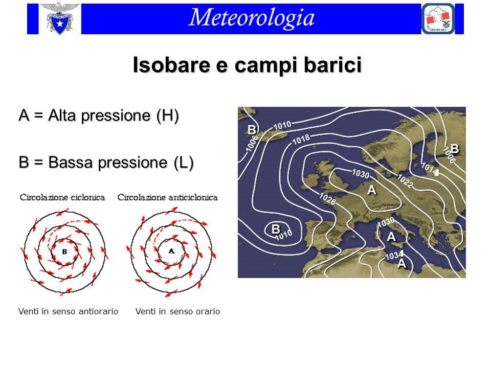 Isobare e campi barici A = Alta pressione (H) B = Bassa pressione (L)